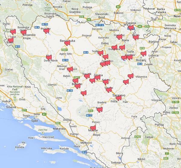 Χάρτης με τις πόλεις όπου πραγματοποιήθηκαν διαδηλώσεις